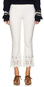 Derek Lam 10 Crosby Women's Eyelet-Detailed Stretch-Cotton Crop Pants - White