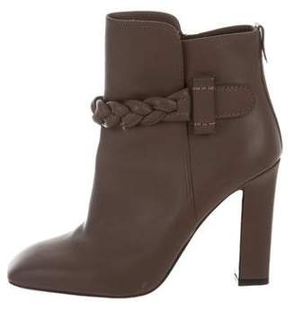 Valentino Leather Square-Toe Ankle Boots