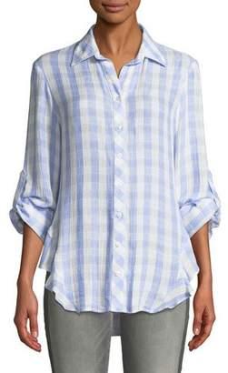 Finley Agetha Checkered-Print Long-Sleeve High-Low Blouse