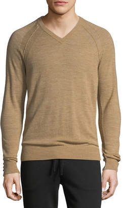 Vince Men's Seamed Wool/Linen V-Neck Sweater