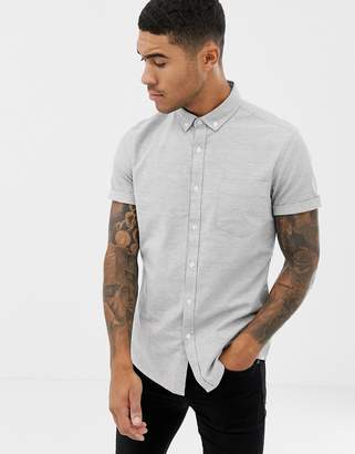 Asos Design DESIGN slim oxford shirt in grey with short sleeves