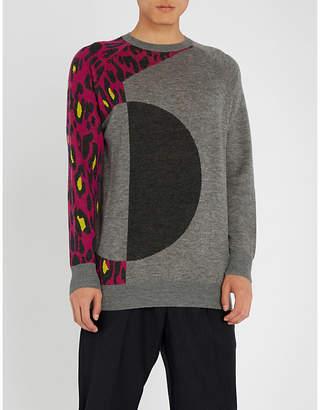 Chalayan Leopard-sleeve wool jumper