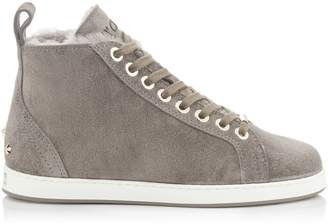 Jimmy Choo COLT/F Dark Grey Velvet Suede High Top Trainers with Shearling Lining