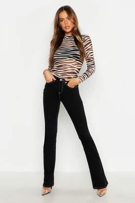 boohoo High Rise Contrast Stitch Stretch Flare Jean