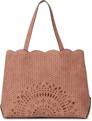 Violet Ray Tan Laser Cut Studded Satchel