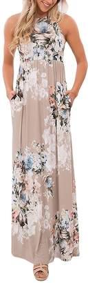 Soficy Women's Sleeveless Round Neck Vintage Floral Print Maxi Dress XL