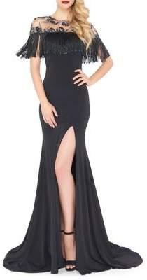 Mac Duggal Tasseled Floor-Length Gown