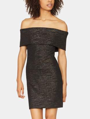 Halston Fitted Metallic Knit Dress