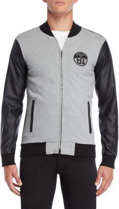 Armani Jeans Grey & Black Slim Fit Zip Bomber