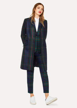 Paul Smith Women's Navy, Green And Red Tartan Wool And Cashmere-Blend Epsom Coat