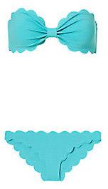 Marysia Swim Antibes Scallop Trim Turquoise Bandeau Bikini