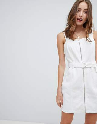 Miss Selfridge pinafore dress with zip detail in white