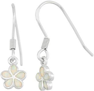Lab-Created Opal Sterling Silver Flower Drop Earrings