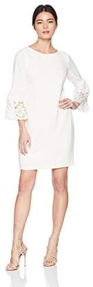 Jessica Howard Women's Petite Bell Sleeve Shift with Lace Trim