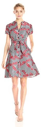 Adrianna Papell Women's Gingham and Floral Flared Embroidered Shirt Dress $180 thestylecure.com