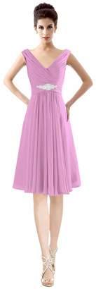 CaliaDress Women V Neck Ruffles Bridesmaid Dress Formal Prom Gowns Short C19LF US