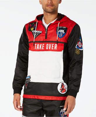 Reason Men's Take Over Black Colorblocked Hooded Track Jacket
