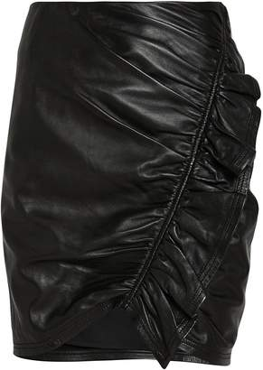 A.L.C. Jupiter Ruched Leather Mini Skirt