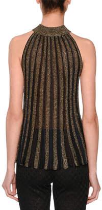 Missoni Mock-Neck Sleeveless Metallic-Striped Top