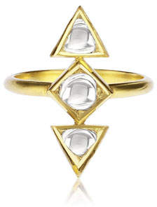 Amrapali Legend Kundan Diamond Triangle Ring