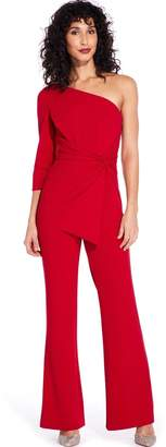 Adrianna Papell Dark Cherry One Shoulder Jumpsuit