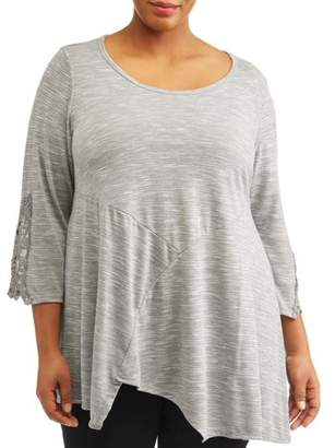 French Laundry Women's Plus Size Elbow Sleeve Tunic Top With Crochet