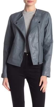 Badgley Mischka Collarless Biker Leather Jacket