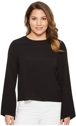 Vince Camuto Specialty Size Petite Bell Sleeve Side Drawstring Soft Texture Blouse Women's Blouse