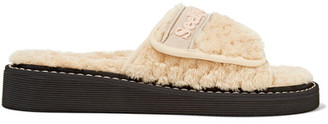 See by Chloé - Faux Shearling Slides - Beige $160 thestylecure.com