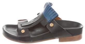 Chloé Leather Kiltie Slide Sandals Black Chloé Leather Kiltie Slide Sandals