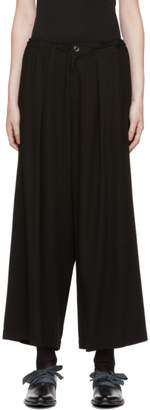 Y's Ys Black O-Front Tuck Wide Trousers