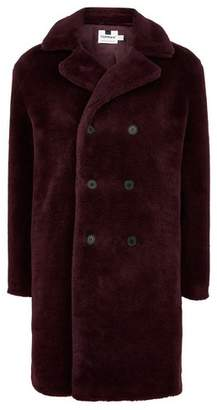 Topman Mens Red Berry Faux Fur Double Breasted Jacket