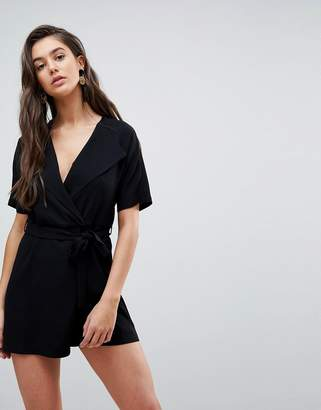 Asos Wrap Front Romper with Self Belt