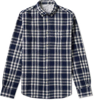 Officine Generale Button Down Japanese Check Cotton Shirt