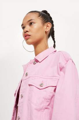 Topshop Bubblegum Pink Boxy Denim Jacket