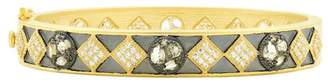 Freida Rothman Rose d'Or 14K Yellow Gold & Black Rhodium Plated Pave CZ Hinged Bangle
