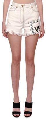 Versace Cutoff Fringe-Hem Logo-Print Denim Shorts