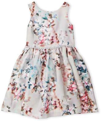 Pippa & Julie (Girls 4-6x) Floral Rhinestone Waist Dress