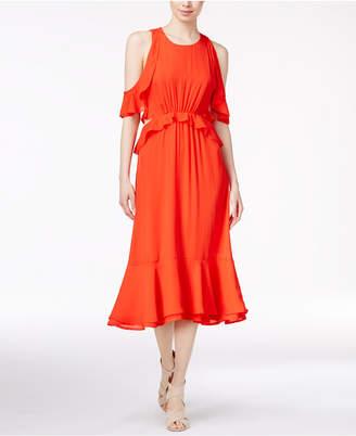 Maison Jules Ruffled Cold-Shoulder Dress $99.50 thestylecure.com