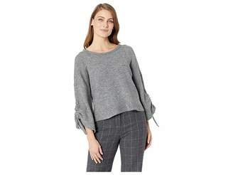 Kenneth Cole New York Long Sleeve Cropped Boat Neck w/ Gathered Sleeves Top