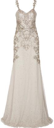 Alexander McQueen - Embellished Tulle Gown - Light gray $22,895 thestylecure.com