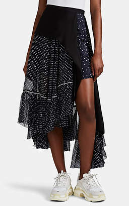 Sacai Women's Polka Dot Organza & Satin Asymmetric Wrap Skirt - Navy
