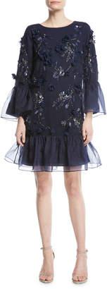 Marchesa Tunic-Cut Cocktail Dress with 3D Flowers & Organza Ruffles