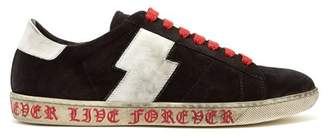 Amiri Viper Leather Trimmed Suede Trainers - Mens - Black White
