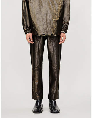 Fendi Metallic tapered shell trousers