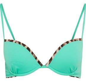 Roberto Cavalli Leopard-Print Trimmed Underwired Bikini Top