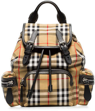 Burberry vintage check small cotton and leather backpack