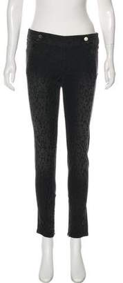 Stella McCartney Leopard Print Zip-Accented Skinny Jeans