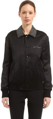 Saint Laurent Crystals Embellished Satin Bomber Jacket