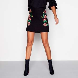 Red Herring Black Floral Embroidered Mini Skirt